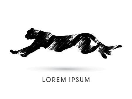 Illustration pour Silhouette Cheetah, Panther, design using grunge brush, graphic vector. - image libre de droit