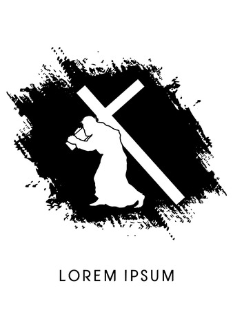 Silhouette, Jesus Christ carrying cross, on grunge background, graphic vector