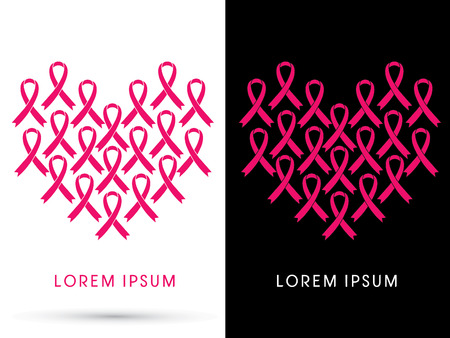 Breast cancer awareness, pink ribbon, in heart shape, graphic vector