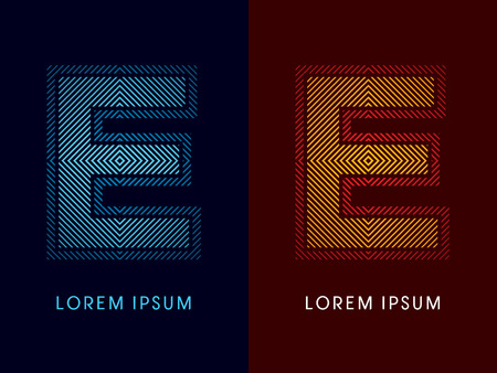 E ,abstract luxury font, Designed using cool and hot colors, line square, geometric shape, graphic vector.