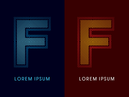 F ,abstract luxury font, Designed using cool and hot colors, line square, geometric shape, graphic vector. ,abstract luxury font, Designed using cool and hot colors, line square, geometric shape, graphic vector.