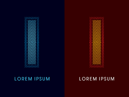 I ,abstract luxury font, Designed using cool and hot colors, line square, geometric shape, graphic vector.