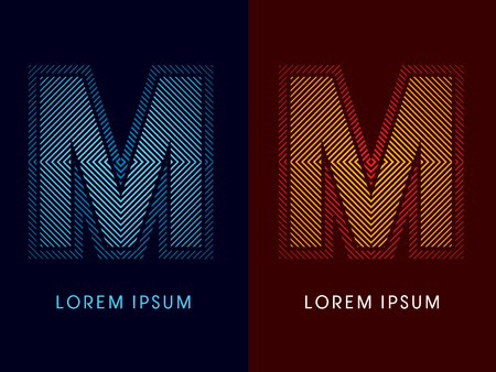 M ,abstract luxury font, Designed using cool and hot colors, line square, geometric shape, graphic vector.