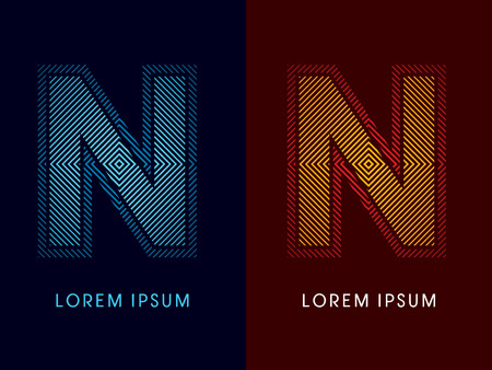N ,abstract luxury font, Designed using cool and hot colors, line square, geometric shape, graphic vector.