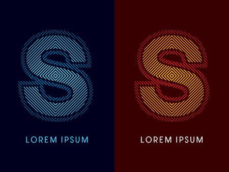 S ,abstract luxury font, Designed using cool and hot colors, line square, geometric shape, graphic vector.