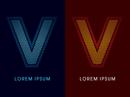 V ,abstract luxury font, Designed using cool and hot colors, line square, geometric shape, graphic vector.