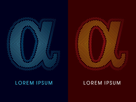 Alpha ,abstract luxury font, Designed using cool and hot colors, line square, geometric shape, graphic vector.