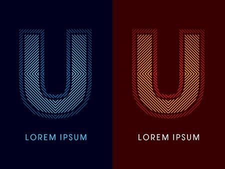 U ,abstract luxury font, Designed using cool and hot colors, line square, geometric shape, graphic vector.