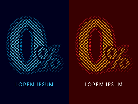 0, zero percent, abstract luxury font, Designed using cool and hot colors, line square, geometric shape, graphic vector.