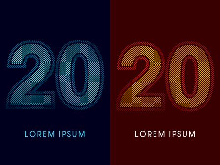 20 ,abstract luxury font, Designed using cool and hot colors, line square, geometric shape, graphic vector.