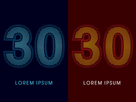 30 ,abstract luxury font, Designed using cool and hot colors, line square, geometric shape, graphic vector.