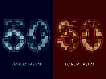 50 ,abstract luxury font, Designed using cool and hot colors, line square, geometric shape, graphic vector.