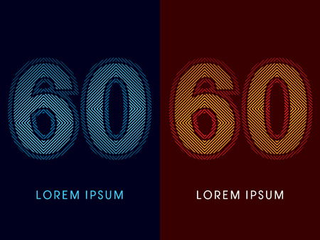 60 ,abstract luxury font, Designed using cool and hot colors, line square, geometric shape, graphic vector.