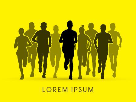 Marathon Runners Front view graphic vector.
