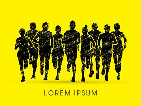 Marathon Runners  Front view, designed using grunge brush graphic vector.