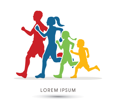 Family running silhouettes graphic vector.