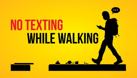 Illustration for No texting while walking banner graphic vector. - Royalty Free Image