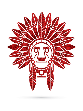 Illustration pour Native American Indian chief , Head designed using red grunge brush graphic . - image libre de droit