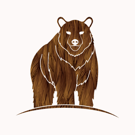 Ilustración de Bear Standing designed using brown grunge brush graphic vector. - Imagen libre de derechos