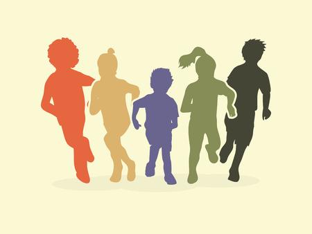 Ilustración de Group of children running, Front view graphic vector. - Imagen libre de derechos