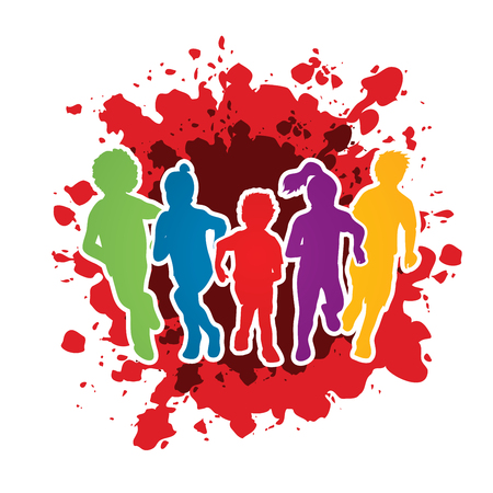 Illustration for Group of children running , Front view designed on splash ink background graphic vector. - Royalty Free Image