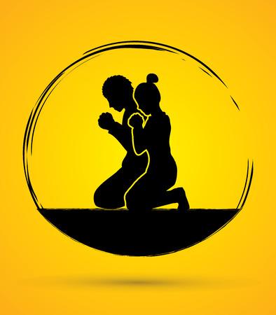 Illustration pour Man and Woman pray together graphic vector - image libre de droit