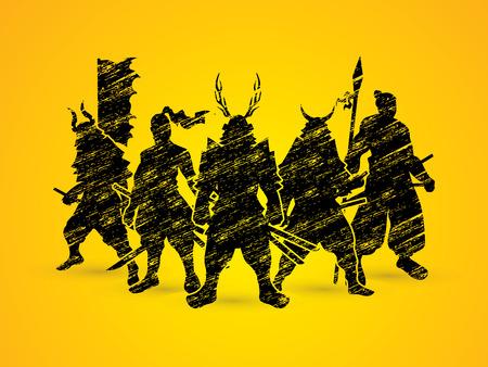 Samurai Warrior pose designed using grunge brush graphic vector.