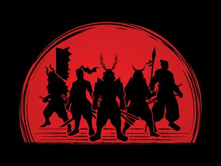 Samurai Warrior pose on sunset background graphic vector.