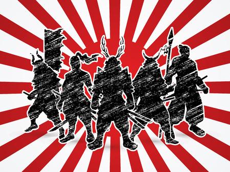 Samurai Warrior pose on sunshine background graphic vector.