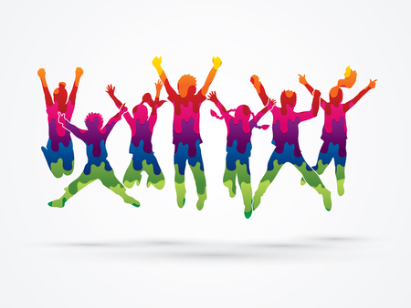 Illustration for Group of children jumping , Front view designed using melt colors graphic vector. - Royalty Free Image