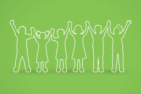 Illustration for Children holding hands outline graphic vector. - Royalty Free Image