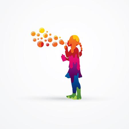 Illustration pour A little girl blowing soap bubbles designed using melt colors graphic vector. - image libre de droit