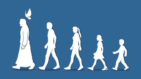 Illustration pour Walk with Jesus, Follow Jesus graphic vector. - image libre de droit