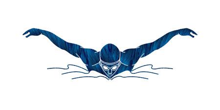 Ilustración de Swimming butterfly stroke, man swimming designed using blue grunge brush graphic vector - Imagen libre de derechos