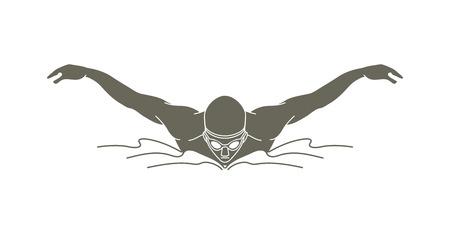 Ilustración de Swimming butterfly, man swimming graphic vector - Imagen libre de derechos