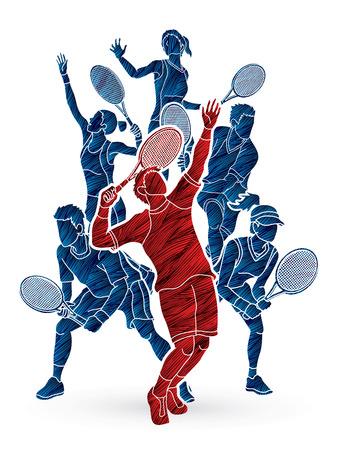 Illustration pour Tennis players , Men and Women action designed using grunge brush graphic vector. - image libre de droit