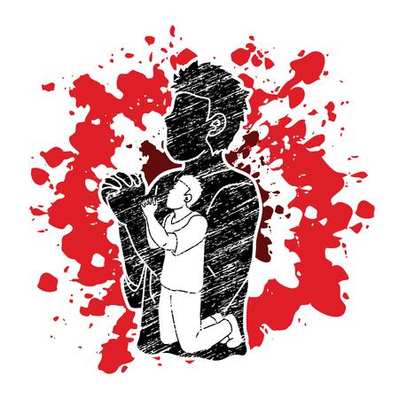Illustration pour Prayer, Christian praying together , cartoon graphic vector - image libre de droit