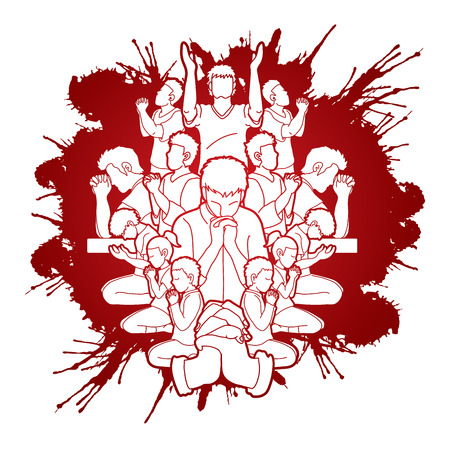 Illustration pour Group of people Praying, Christian praying, Thank you GOD , Prayer composition graphic vector - image libre de droit