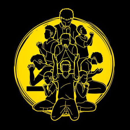 Illustration pour Group of Prayer, Christian praying together cartoon graphic vector - image libre de droit