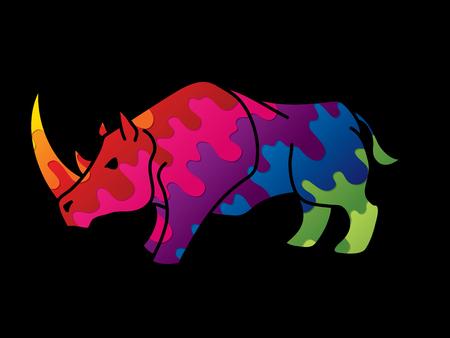 Ilustración de Angry Rhino ready to fight cartoon graphic vector. - Imagen libre de derechos