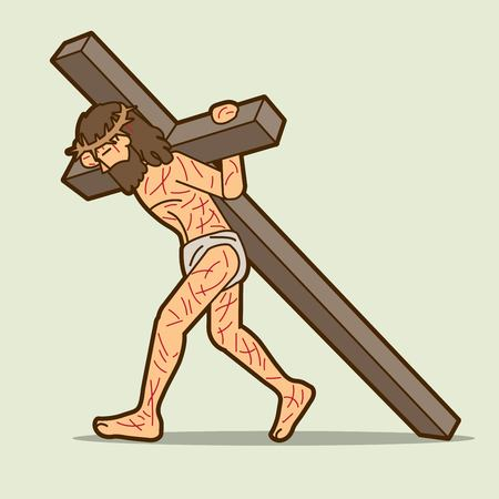 Illustration for Jesus Christ carrying cross cartoon graphic vector - Royalty Free Image