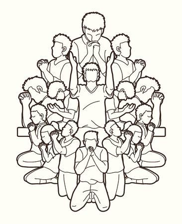 Ilustración de Group of people pray to God , Prayer, Praise to the Lord , Double exposure cartoon graphic vector - Imagen libre de derechos