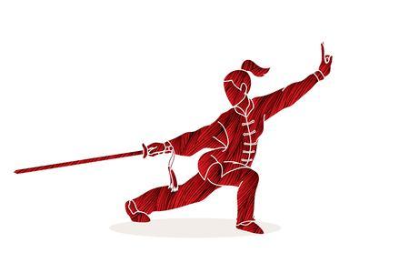 Illustration pour Woman with sword action, Kung Fu pose graphic vector. - image libre de droit