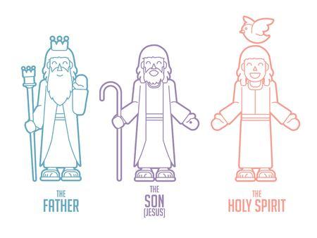 Illustration pour God Father Son Holy spirit cartoon graphic vector - image libre de droit