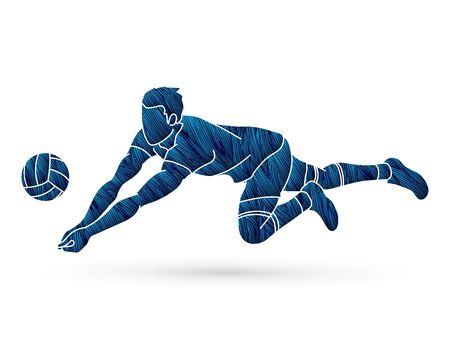 Ilustración de Volleyball player action cartoon graphic vector. - Imagen libre de derechos