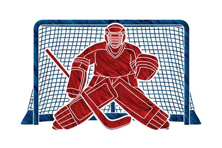 Photo for Ice Hockey Goalie, sport player cartoon action graphic vector. - Royalty Free Image