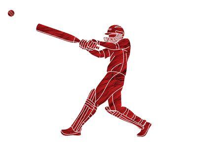 Illustration pour Cricket player action cartoon sport graphic vector - image libre de droit