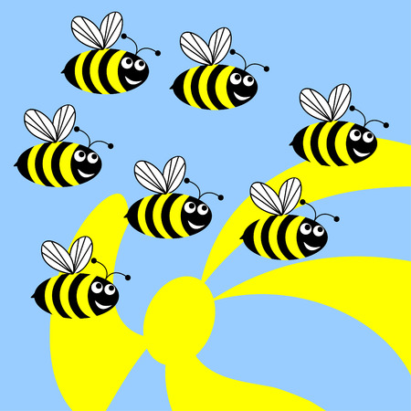 Dig bees flies to collect pollen from flowers.Funny merry bees.