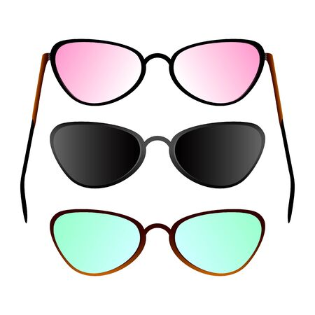 Set of different glasses on a white background. Pink glasses, black glasses and usual glasses.