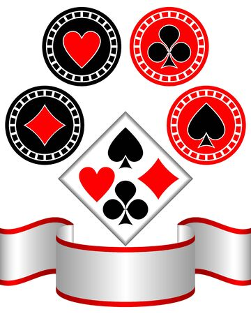 The isolated symbols of playing cards on a white background